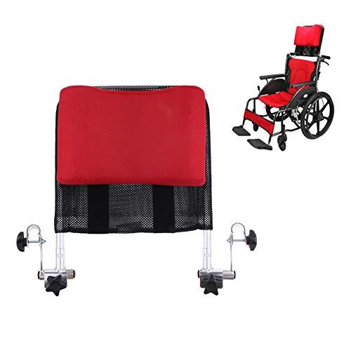 HEWYHAT Verstellbares Rollstuhl Kopfstützen Kissen mit Rückengriff, Nacken- und Rückenlehnenunterstützung für 40-50cm,Rot