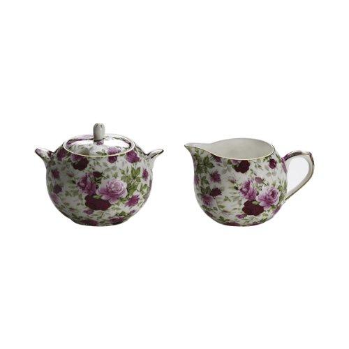 Maxwell & Williams S311224 Royal Old England Milch und Zucker Set, Milchkännchen, Zuckerdose, Motiv: Rosenknospe, in Geschenkbox, Porzellan