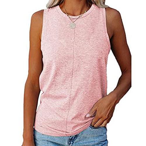 Camisola Mujer T-Shirts Personalidad Cómodo Verano Cuello Redondo Color Sólido Mujer Tops Sexy Chic Sin Mangas Diseño Diario Casual Transpirable All-Match Mujer Blusa E-Pink S