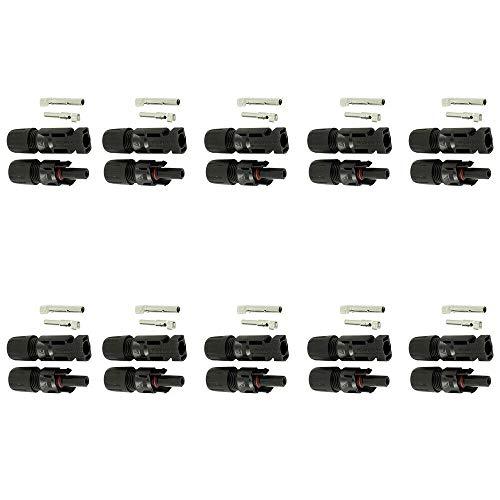 Solarstecker Buchse 10 stk. für Solarpanel Solar PV Kabel Steckverbinder (10 Paare)