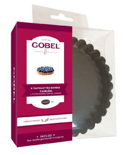Gobel 282550 Boîte de 6 Tartelettes Rondes Cannelées Fond Fixe Anti-Adhérent 12 cm