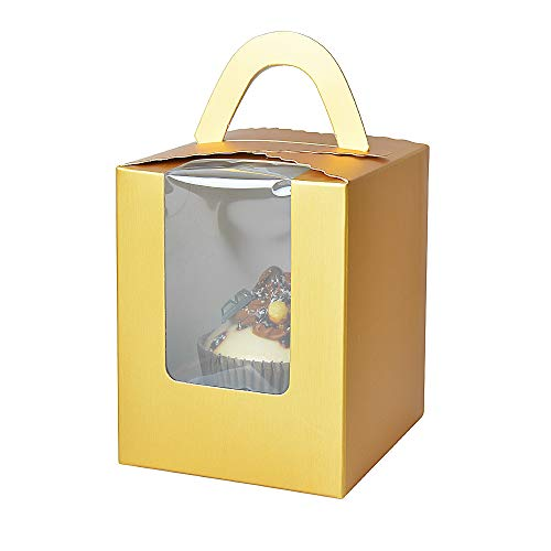 Cupcake Boxes,RetroLeo Cupcake Carriers Individual Containers With Handle And Window (CB006 Gold, 24)