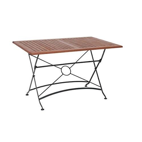 greemotion Outdoor-Klapptisch Borkum, 120 x 80 cm - Design-Gartentisch im Landhaus-Stil - Tisch klappbar aus Holz- & Stahl-Kombination - Holztisch geeignet für Garten, Terrasse & Balkon