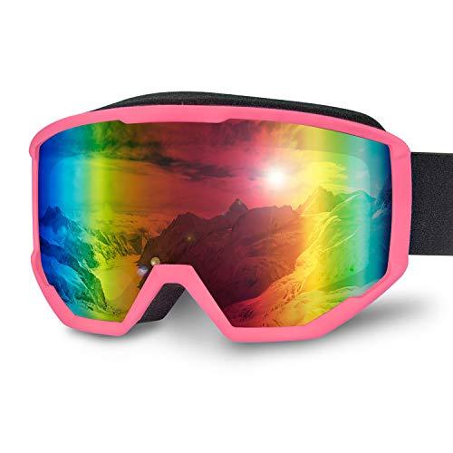 Karvipark Gafas de esquí, Gafas de Snowboard, Gafas de esquí, Gafas de Espejo, Doble Lente OTG Protección UV Anti Fog Snowboard Gafas Mujer Hombre Niños para Esquí Snowboard, Rosa VLT14%