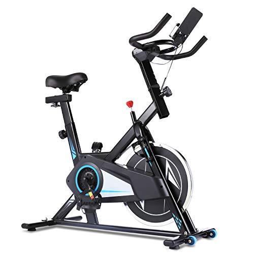 Ancheer Bicicleta Estática de Spinning Bicicleta Fitness Volante Inercia, Pantalla LCD, Millar y Sillín Ajustable, Máximo Capacidad de Peso130 kg (Plateado)