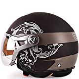 LALEO Unisexo Vintage Harley Cascos Moto Half-Helmet, Transp