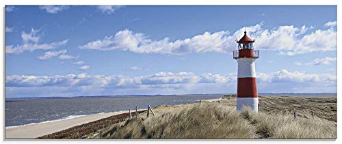 Artland Glasbilder Wandbild Glas Bild einteilig 125x50 cm Querformat Strand Meer Nordsee Leuchtturm Sylt Dünen Gräser Wolken Sommer Urlaub T9ML