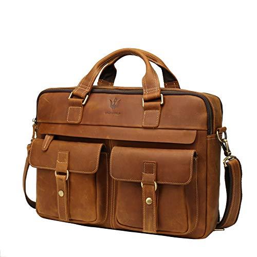 WILD WORLD Leather Laptop Briefcase Shoulder Bag for Men Large Capacity Messenger Business Bag Handbag Fit Up to 17 Inch Laptop Computer (Brown)