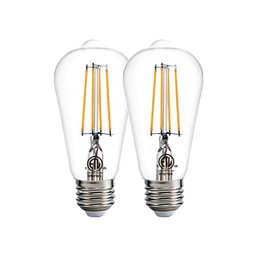Dusk to Dawn LED Lights Bulb,Photocell Sensor Bulb, Auto Turn On/Off, ST58 ST19 60W Edison Replacement, E26 8W 800lm,Warm White 2700K for Outdoor Wall Light Fixture Garden Garage Porch Pack of 2