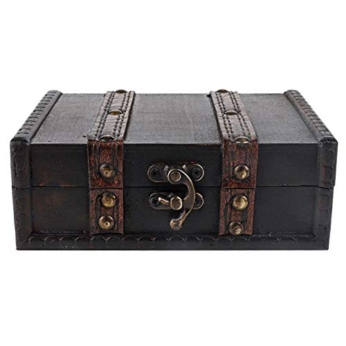 Práctico seguro, madera vintage, con cerradura, caja de almacenamiento de baratijas, organizador de joyas, para Navidad para adornos de escritorio para mujeres y niñas(6273-01-do old gray)