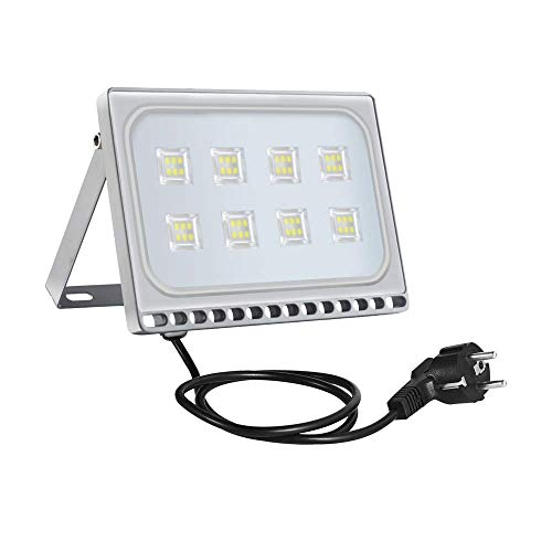 50W LED Floodlight Slight Flood Light Outdoor Wall Light 40000LM 6000K Cool White IP65 Waterproof Outdoor Wall Light for Yard, Garage, Garden, Roads, Warehouse