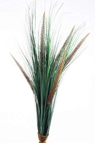 artplants.de Deko Lampenputzergras mit 5 Rispen, auf Steckstab, 90cm - Kunststoff Gras - Künstliches Ziergras