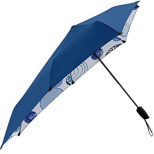 Le Monde du Regie Senz Regenschirm mit Sturmschutz, faltbar, automatische Öffnung, 28 cm, Weiß/Blau Punkte