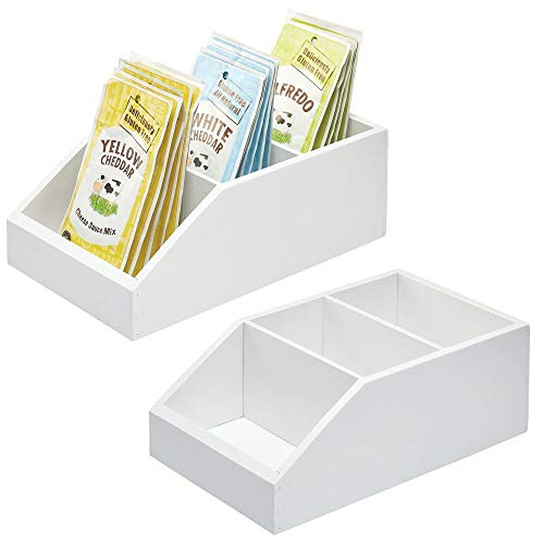 mDesign Bamboo Wood Food Storage Bin with Divided 3 Compartments and Sloped Front for Kitchen Cabinet, Pantry, Shelf to Organize Seasoning Packets, Powder Mixes, Spices, Snacks - 2 Pack - White