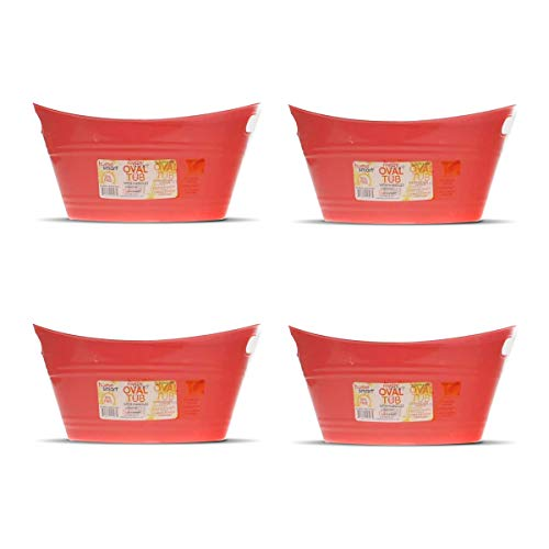 Oval plastic tubs with handle: (12.8' x 9' x 6.3') store small items at home, classroom, beauty salon (4 Pack Red)