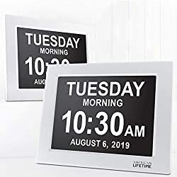 American Lifetime, Newest Version, Day Clock Extra Large Impaired Vision Digital Clock with Battery Backup and 5 Alarm Options Great Gift Ideas, 2 Pack White