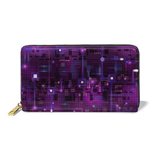 Women Genuine Leather Wallets Purple Circuit Credit Card Holder Organizer Ladies Purse Zipper Around...