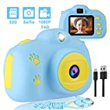 Kids Camera, AIMASON Digital Video Camera Gift for Age 3 4 5 6 7 8 9 10 Year Old Boys, Mini Rechargeable and Shockproof Camera Creative for Little Boys Girls with 32GB SD Card (Blue 2)