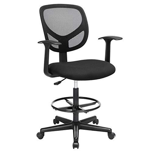 SONGMICS Bürostuhl, Ergonomischer Arbeitshocker mit Armlehnen, Sitzhöhe 51,5-71,5 cm, Hoher Arbeitsstuhl mit verstellbare Fußring, Belastbarkeit 120 kg, Schwarz OBN25BK