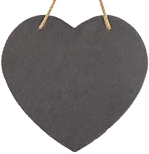 LAUBLUST Schiefer Memo-Tafel in Herzform zum Beschriften - 25x10cm, Anthrazit - Dekorative Schieferplatte mit Halteseil als Namensschild | Haustür-Schild | Küchen-Tafel | Geschenkidee zum Einzug