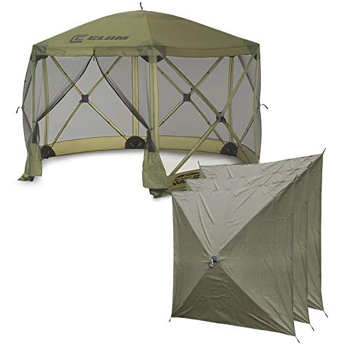 Clam Quick-Set Escape 12 x 12 Foot Portable Pop-Up Camping Outdoor Gazebo Screen Tent Canopy Shelter and Carry Bag with 3 Wind and Sun Panels, Green