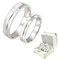 [シアーズ] Sears 刻印無料 ペアリング 天然ダイヤモンド シルバーリング 指輪 マリッジベア (レディース07号&メンズ23号)