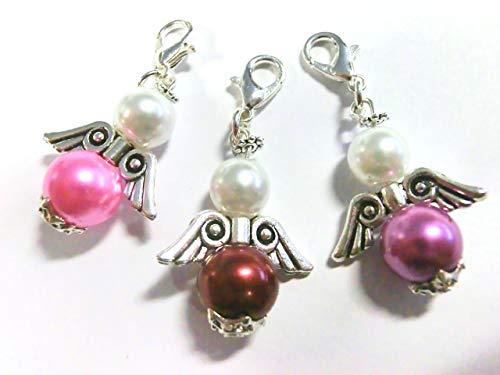 beadsvision 50 Bastelset Schutzengel Perlen Gastgeschenk Basteln Hochzeit Engel Farbwahl (Mix Weiß Rosa Lila Rot #S10)