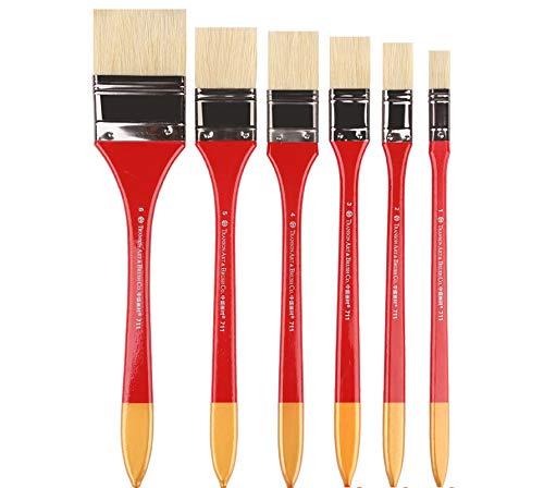 Keephic Brocha plana de punta larga, brocha para pintura al óleo, brocha acrílica, brocha para sombrear el pelo (6 unidades)