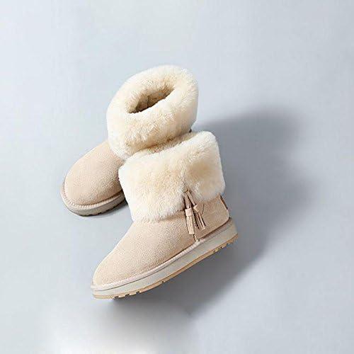 Bottines pour Les dames d'hiver Bottes de neige plates et chaudes Cheville de soins occasionnels , 44 , lumière sand Couleur