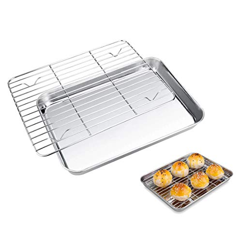 Stainless Steel Baking Sheet with Rack Set, Metal Cooking Tray Cookie Half Sheets Baking Pan Toaster Oven Tray Small Broiler Pan Dishwasher Safe, 10 x 8 x 1 inche