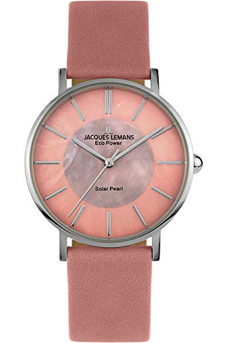 Jacques Lemans Reloj Análogo para Señoras de Planta Solar con Correa en Cuero 1-2112C