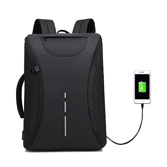 Deals Outlet 360 Degree Open Anti Theft Backpack Briefcase Inbuilt USB Charging Port 15.6 Inch Laptop Bagpack 30 Ltrs School College Office Casual Waterproof Bag (Jet Black)
