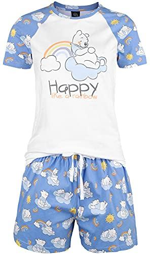 Winnie the Pooh Happy Like A Rainbow Mujer Pijama Azul-Blanco S, 100% algodón,