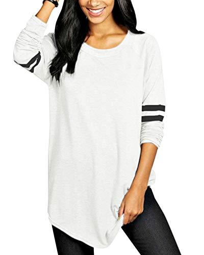 VONDA Femme T-Shirt Manches Longues Pull Femme Sweatshirt Décontractée Col Rond Blouse Casual Shirt De Sport 1A-Blanc S