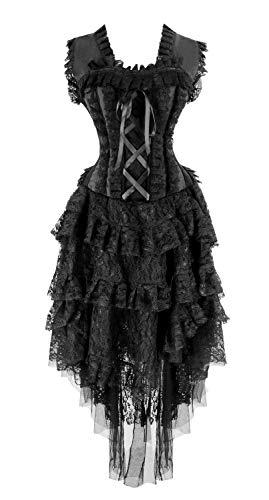 Kimring Women's Vintage Saloon Girl Corset Dress Halloween Cancan Dancer Showgirl Costume Black XX-Large