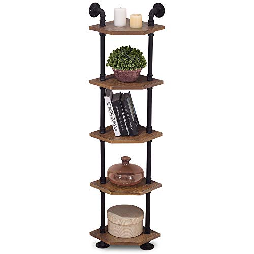 Ivinta Industrial Wall Mount Pipe Shelves, 5-Tier Corner Shelf with Solid Wood, Corner Bookshelf Display Stand,Metal Standing Bookcase (5-Tier)