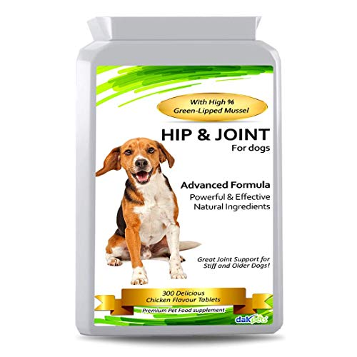 Advanced Hip And Joint Support Glucosamine for Dogs - Powerful Chondroitin, MSM, Curcumin & Green Lipped Mussel Dog Joint Supplement - with Vitamins E & C, Made in UK (300 Tablets)