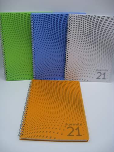 AGENDA SETTIMANALE 2021 CANGINI FILIPPI LINEA FOG F.TO 19.1 X 26.5 CM COPERTINA FLESSIBILE IN PPL TRASPARENTE (Arancione)