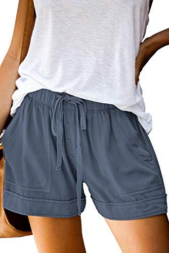 BTFBM Women Casual Shorts Plain Solid Color Elastic Waist Drawstring Pockets Summer Beach Lightweight Short Pants (Blue, Medium)