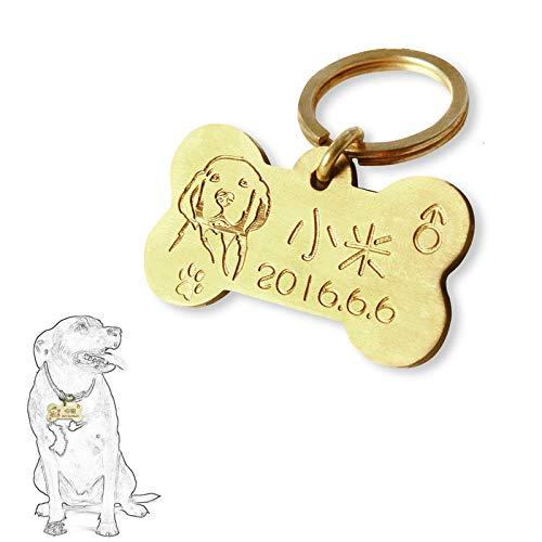gray-ho Colgante para perro con grabado personalizado y bonitos motivos, placa para el collar para huesos, perros y gatos, metal de cobre, tamaño: 3,5 x 3,5 cm