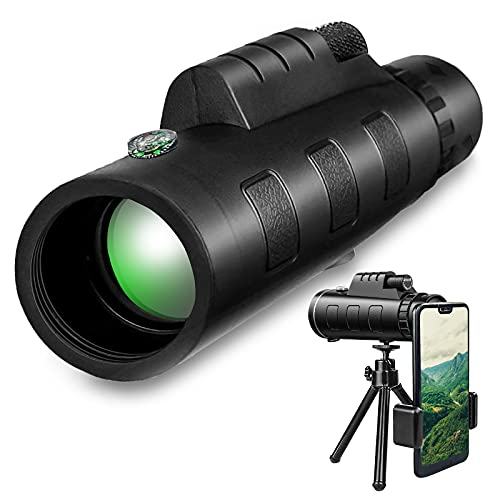 40 x 60 Monocolo ad Alta Potenza, Dual Focus Impermeabile Cannocchiale con Clip per Telefono e Treppiede per Bird Watching, Caccia