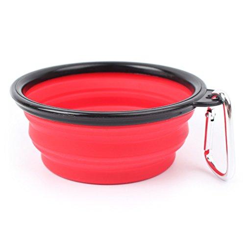 UMALL Hundenapf Faltbar 400ml Silikonnapf Fütterung Hundenäpfe Reisenäpfe Auslaufsicher Elastisch Fressnapf Silikon (Rot)