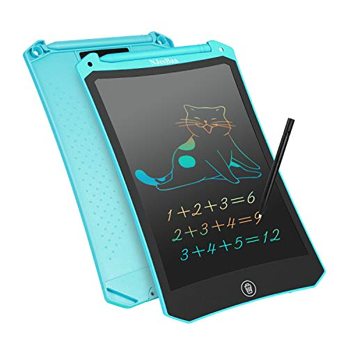 LCD Writing Drawing Tablet 85 Inch Colorful Electronic Graphics Drawing Doodle Pad Erasable Portable Board LockKey Handwriting Tablet for Kids Adult Home School Office Blue