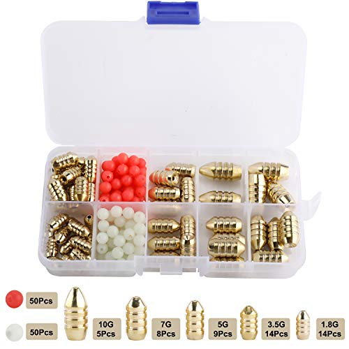 NovelBee 150 Pcs Fishing Sinkers Kits with 5 Sizes Brass Bullet Weights and 2 Kinds Plastic Beads