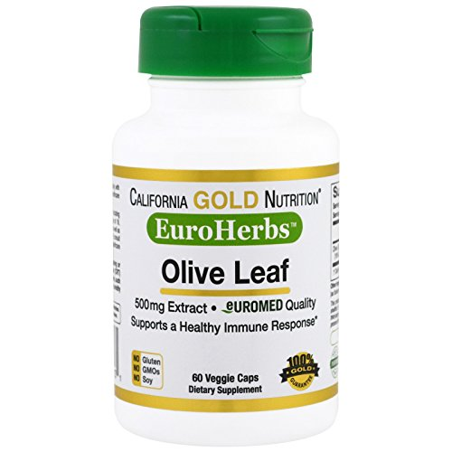 California Gold Nutrition Olive Leaf Extract EuroHerbs 500 mg 60 Veggie Caps, Milk-Free, Fish-Free, Gluten-Free, No Artificial Colors, Peanut Free, Treenut Free, Shellfish Free, Soy-Free, CGN