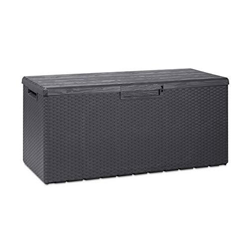 Toomax Z175E097 Portofino Weather Resistant Heavy Duty 90 Gallon Novel Resin Outdoor Deck Box, Gray