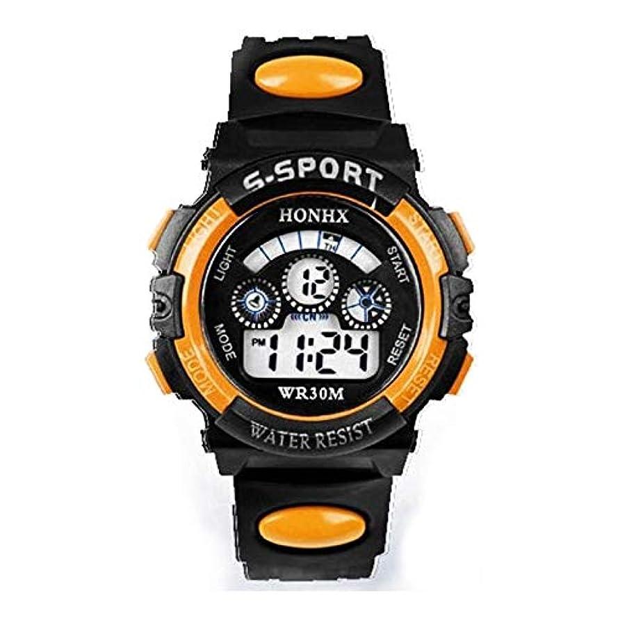 ベッツィトロットウッドマーク卒業腕時計少年 ファッション防水子供キッズボーイズ腕時計デジタルLEDクォーツ日スポーツ電子クォーツ腕時計 (Color : Orange)