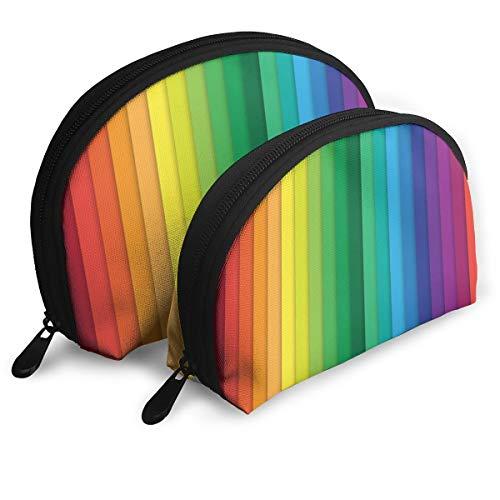 Lot de 2 trousses de rangement multicolores à barres verticales pour maquillage, pinceaux, cosmétiques, rouge à lèvres, pochette de toilette
