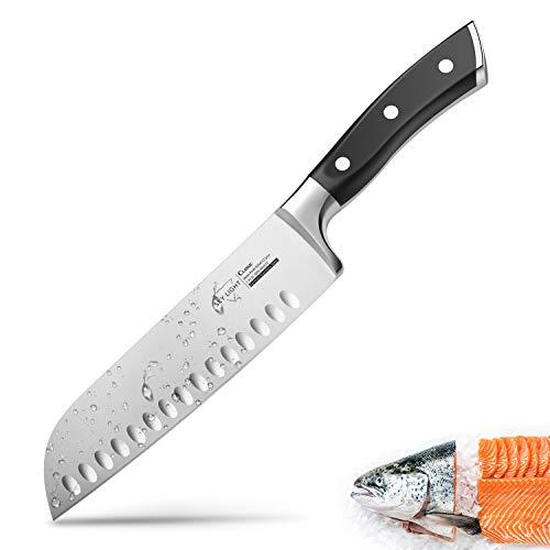 SKY LIGHT Kochmesser Japanisch Santoku Messer Küchenmesser mit Kullenschliff, extrem Scharf Rostfrei Deutsch Edelstahl Universalmesser 17 cm mit ergonomisch geformter Griff