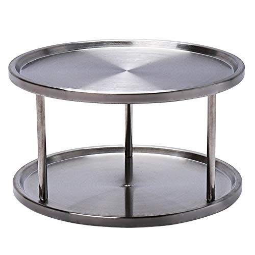 2 Tier Lazy Susan Turntable Organizer,Stainless Steel 360 Degree Turntable Pantry cabinet Turning Table Spice Rack Organizer Tray for Kitchen Bathroom Bedroom Parlor